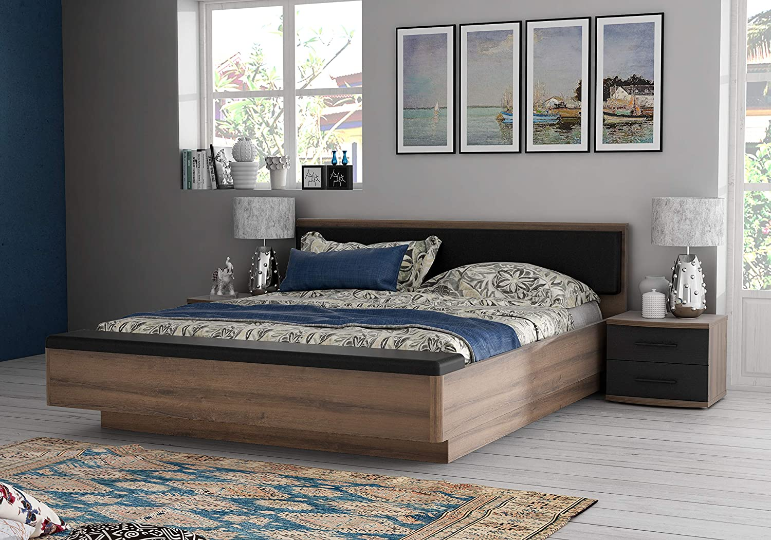 Zuari Rondino King Size Engineered Wood Bed With Hydraulic