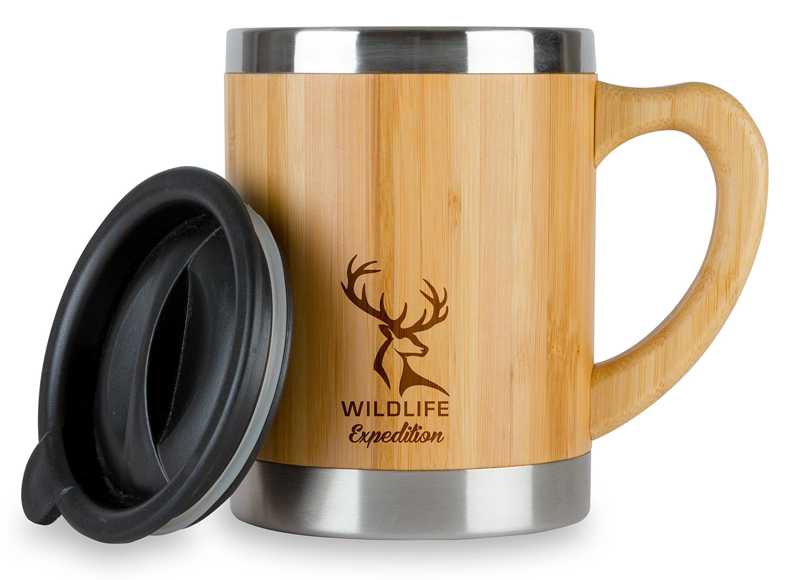 Wildlife Expedition Insulated 13oz Coffee Mug - Stainless Steel & Bamboo Cup with Handle & Lid - Non-Spill On the Go - Keep Your Tea Hot Longer - Unique Gift for Men & Women