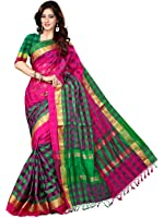 Asavari Women's Blended Saree With Blouse Piece (Nsm16-Lc-Grn-Mag_Green & Magenta)
