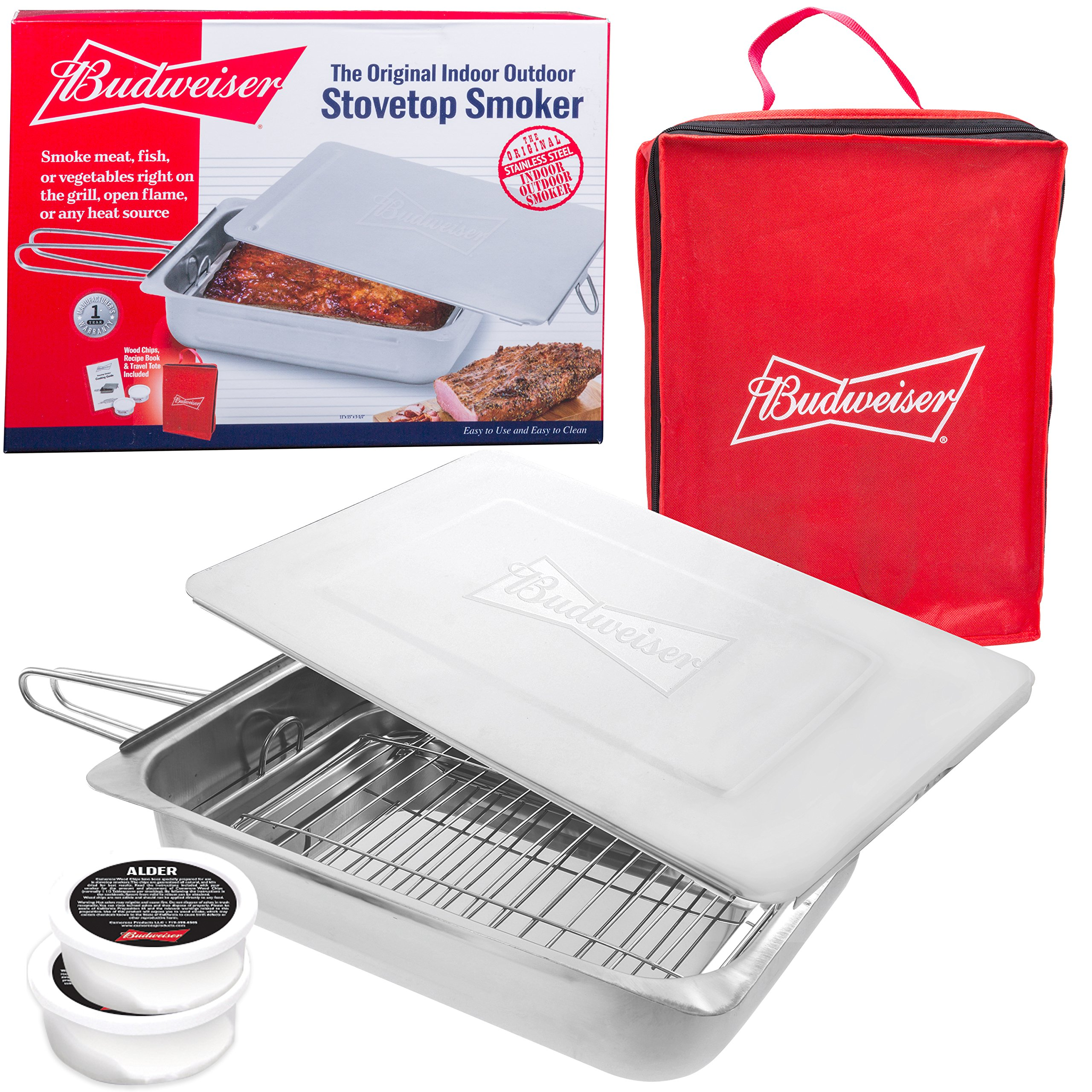 Budweiser Stovetop Smoker - The Original Stainless Steel Smoker with Wood Chips - Works over any heat source, indoor or outdoor by Budweiser