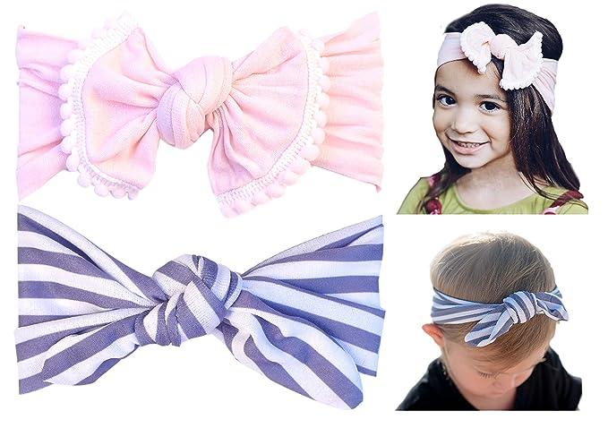 Amazon.com  CaliforniaTot Turban Bow Knot Headband with Pom Poms ... ba58d2c2685