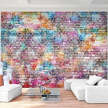 Fototapete Ziegelmauer 3D Bunt Vlies Wand Tapete Wohnzimmer Schlafzimmer  Büro Flur Dekoration Wandbilder XXL Moderne Wanddeko