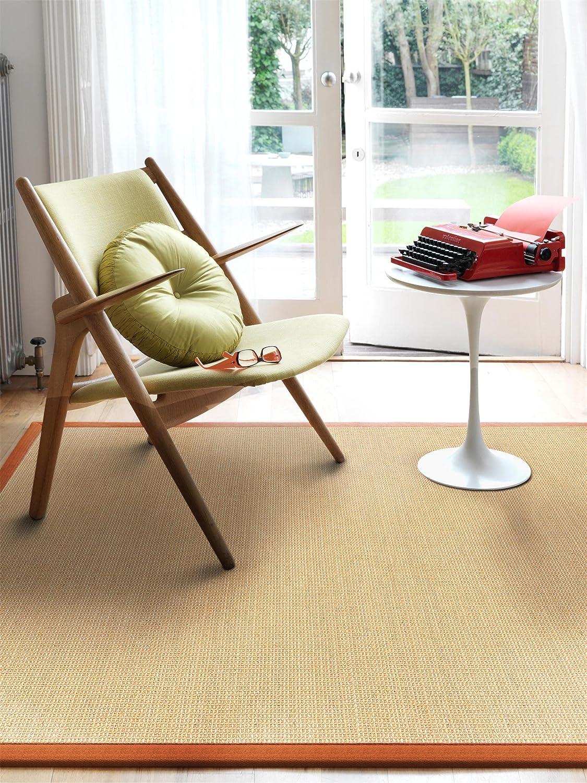 benuta Sisal Teppich mit Bordüre Orange 18x18 cm