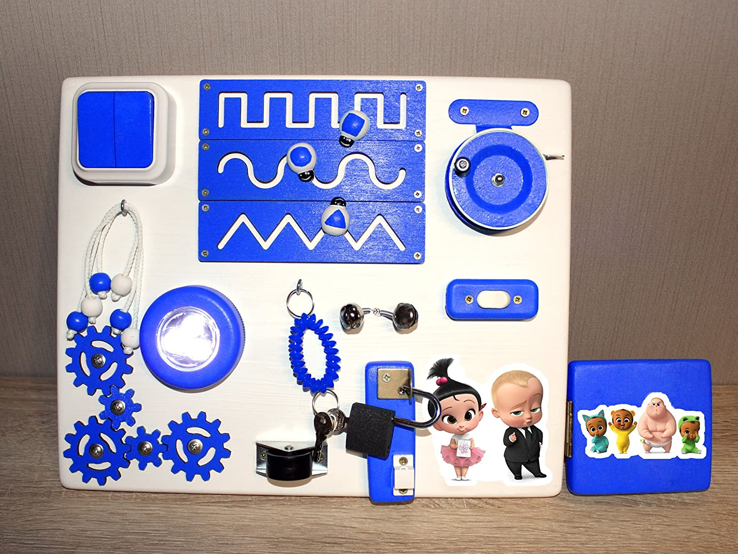 The Boss Baby Travel Busy Board - Educational Activity Toy For Toddlers - Montessori Sensory Game For Boys And Girls - Wooden Kids Toy - Locks And Latches Game - Children Fine Motor Skills Development