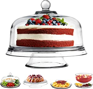 Stock Your Home Glass Cake Stand with Dome Lid (6-in-1) - Dishwasher Safe - Multi Use Glass Serving Platter - Punch Bowl, Fruit & Veggies, Chips & Dip Serving Tray - Centerpiece for Parties