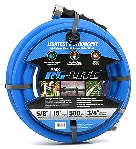 """BluBird AG-Lite Rubber Hot & Cold Water Rubber Garden Hose: Ultra-Light & Super Strong(5/8"""" x 15')- BSAL5815"""