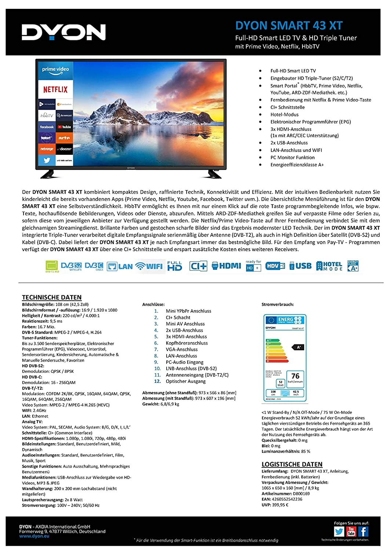 DYON Smart 43 XT 108 cm (43 Zoll) Fernseher (Full-HD Smart