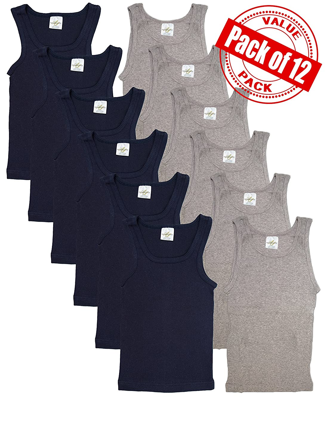 Andrew Scott Basics Boys 12 Pack Color A Shirt Tank Top Undershirts 78392CX6