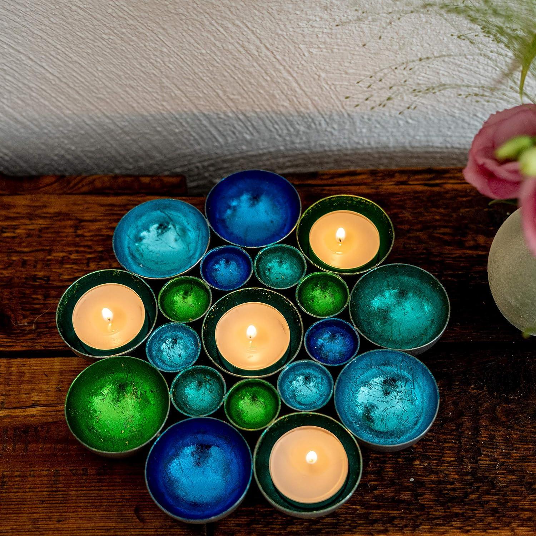 ZEYA Photophore bleu vert turquoise /Ø 21 cm M/étal D/écoration de table parfaite comme cadeau de P/âques