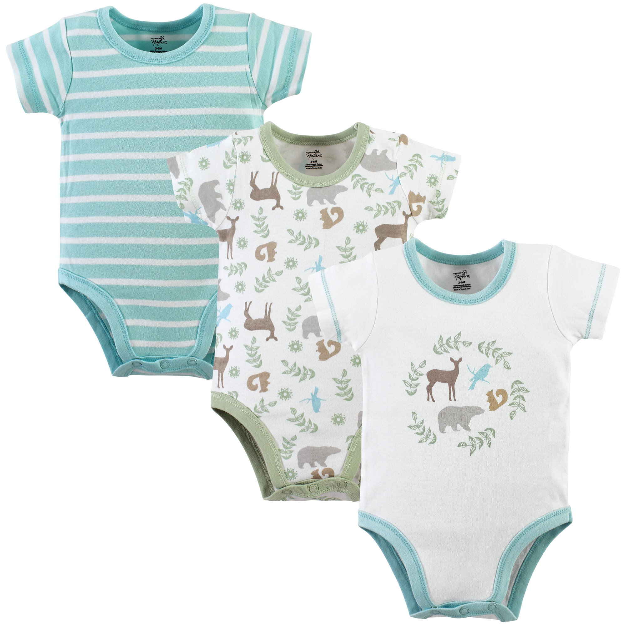 Touched by Nature Baby Organic Cotton Bodysuits, Forest 3 Pack, 3-6 Months