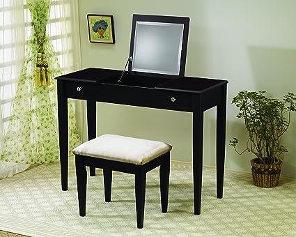 Amazon Com 2 Piece Vanity Set Espresso And Ivory Kitchen Dining