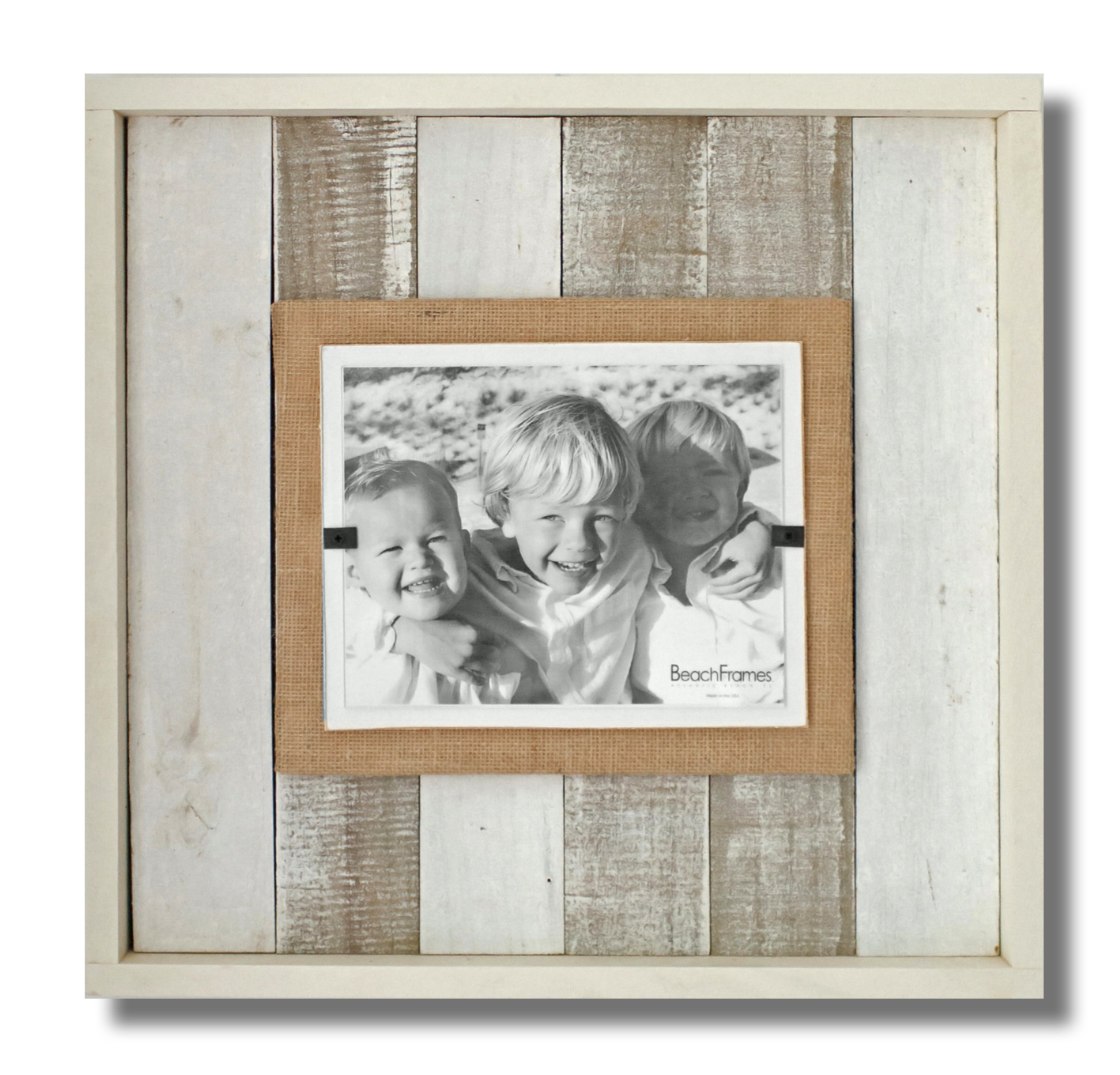 Beach Frames Boxed Reclaimed Wood 8'' x 10'' Burlap Picture Holding Frame, X-Large, White