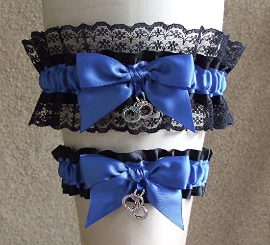 Amazon.com: Police Officer Wedding Garter Set in Royal Blue with ...