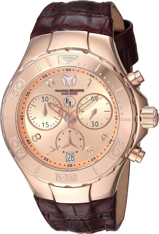 Technomarine Women s Eva Longoria Gold Quartz Watch with Leather Calfskin Strap, Brown, 20 Model TM-416035