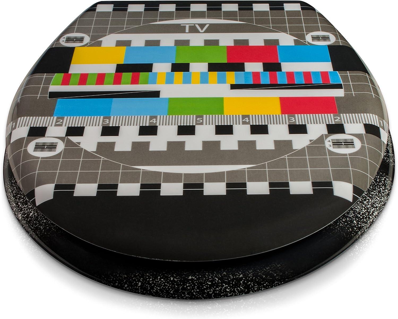 Motivo Monoscopio Sedile wc chiusura ammortizzata Copriwater in duroplast incluso materiale montaggio Grinscard