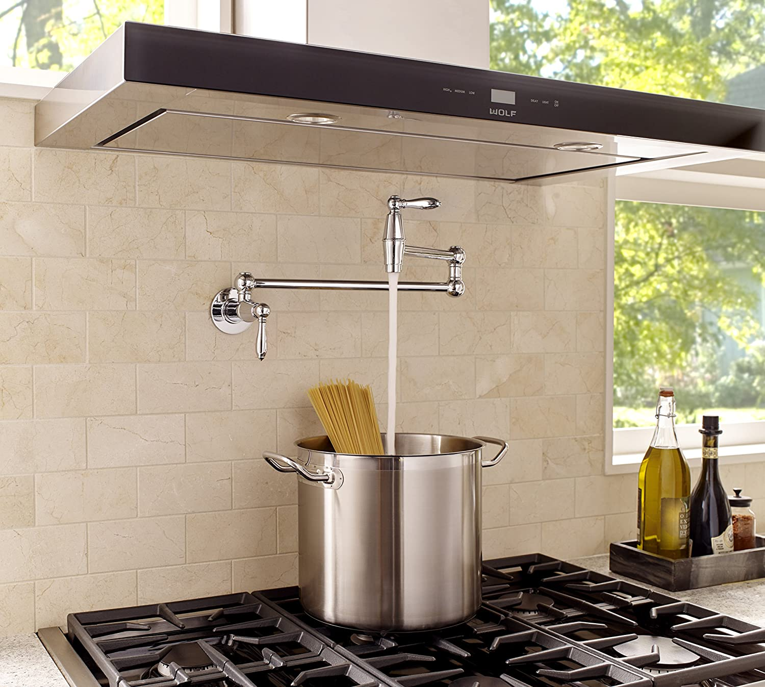 Polished Chrome Pfister GT533-TDC Port Haven Wall Mounted Pot Filler Faucet