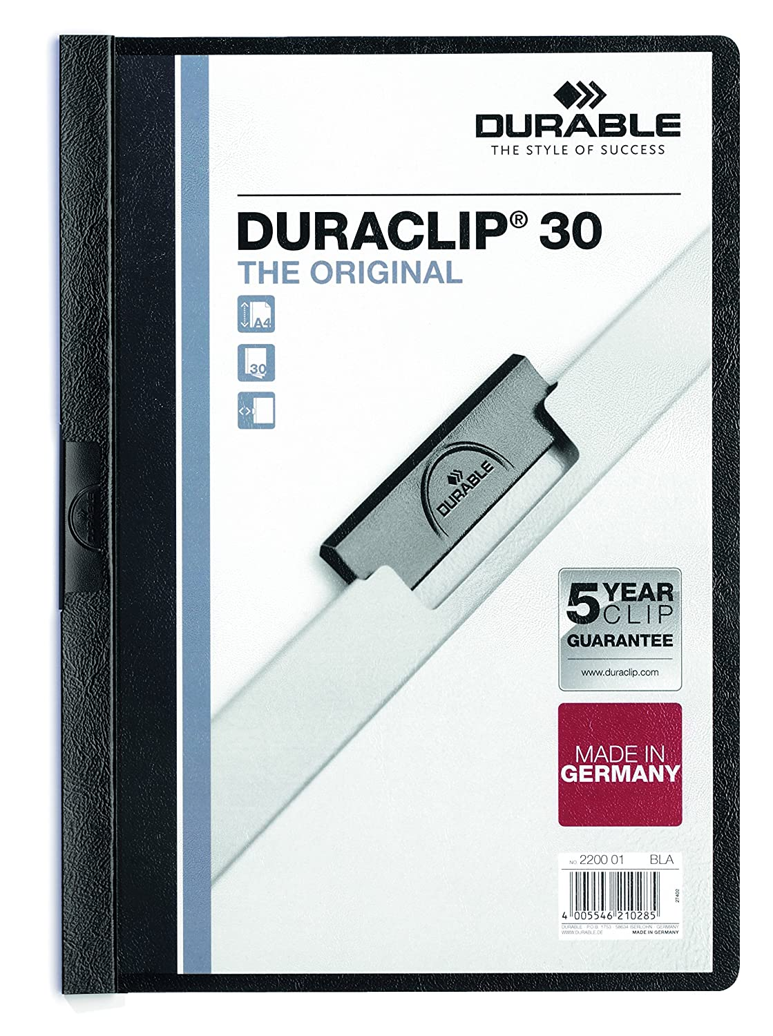 DURABLE Vinyl DURACLIP Report Cover, Letter, Holds up to 30 Pages, Clear/Black, 25 per Box (220301) Durable Office Products Corp.