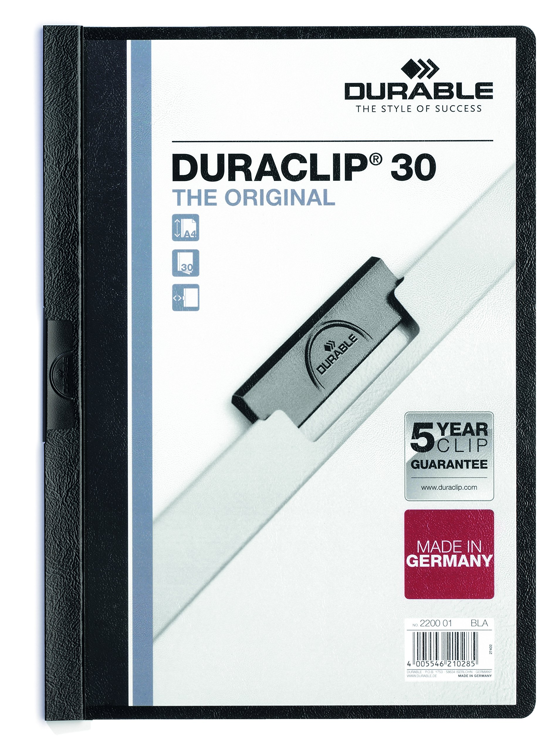 DURABLE Vinyl DURACLIP Report Cover, Letter, Holds up to 30 Pages, Clear/Black, 25 per Box (220301)