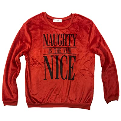 Naughty is The New Nice Red Juniors Minky Cozy Fleece Sweater Top at Women's Clothing store