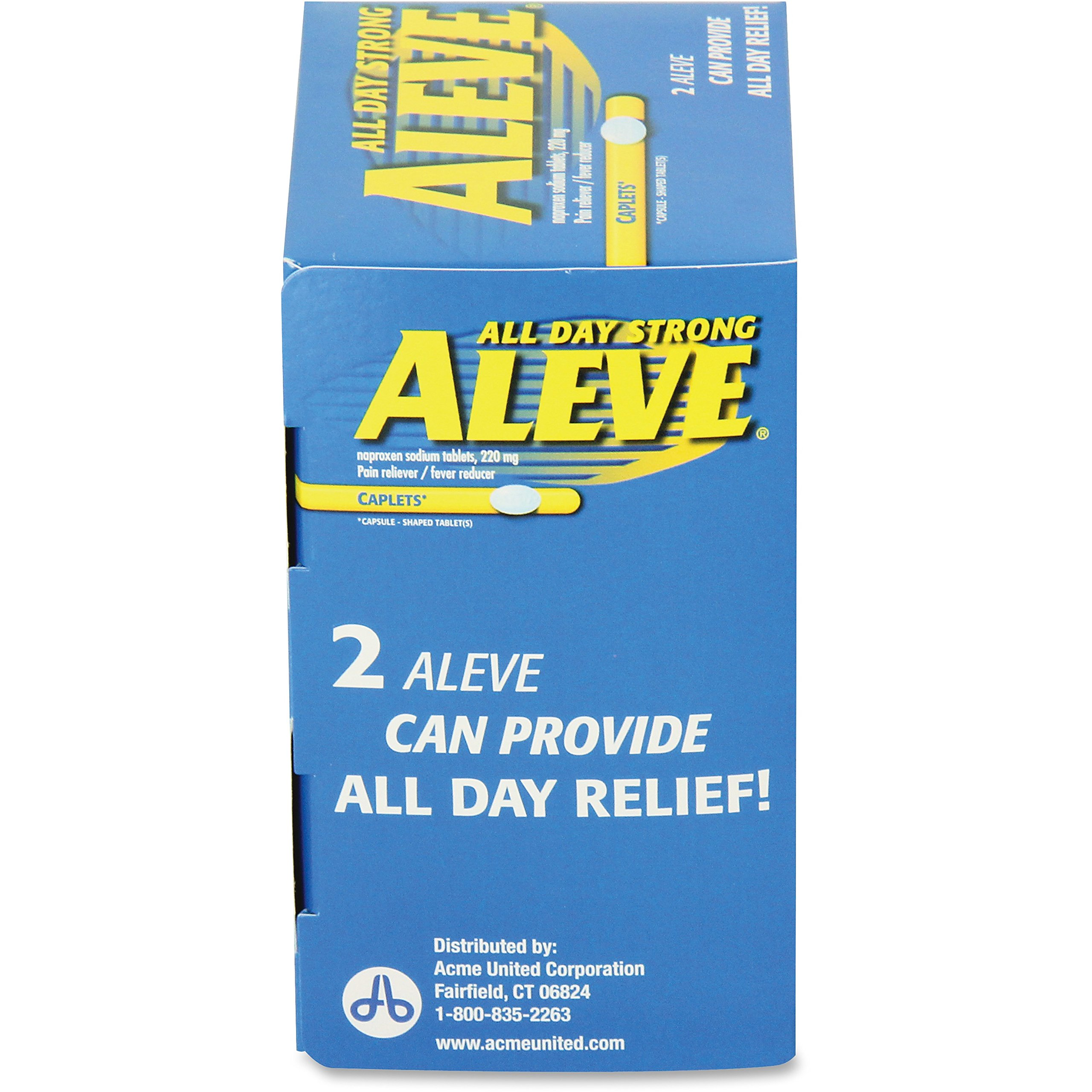 Aleve 90010 Aleve Pain Relief Caplets Packs Single Dose 50/BX Blue by Aleve