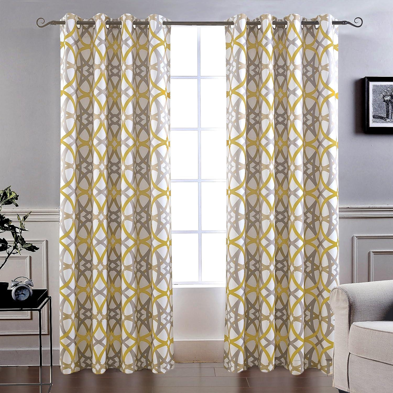 Spiral Geo Trellis Pattern Set of Two Panels Each Size 52x84 DriftAway Alexander Thermal Blackout Grommet Unlined Window Curtains Yellow//Gray Wells International Each Size 52x84 Yellow//Gray