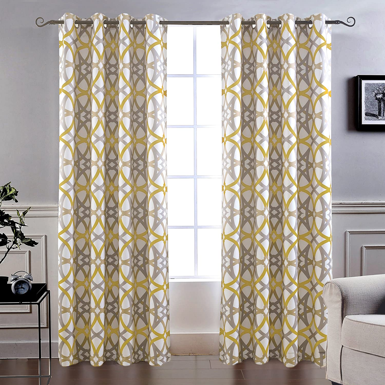 """DriftAway Alexander Thermal Blackout Grommet Unlined Window Curtains, Spiral Geo Trellis Pattern, Set of Two Panels, Each Size 52""""x84"""" (Yellow/Gray)"""