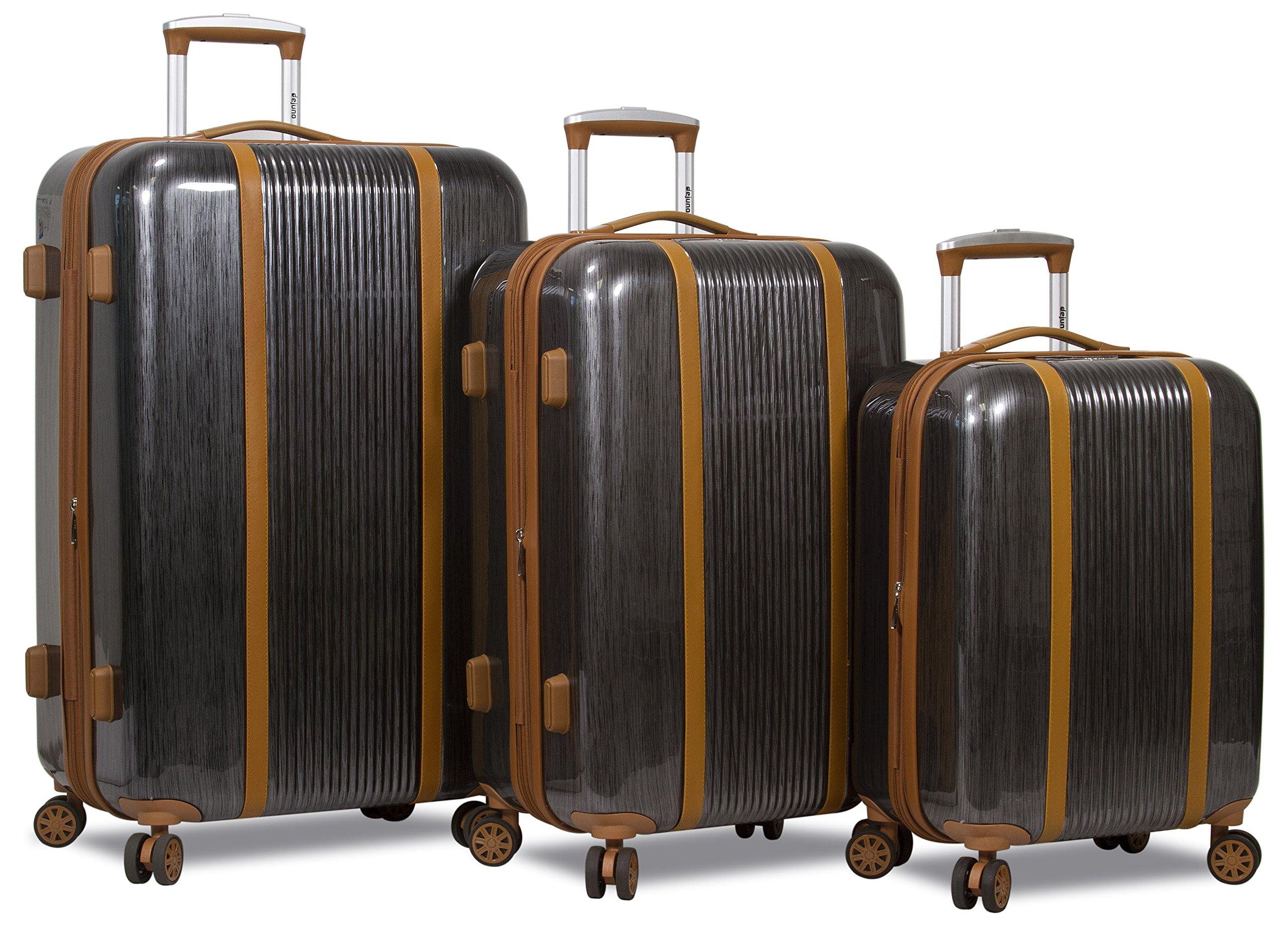 Dejuno Monroe 3-Piece Hardside Spinner TSA Combination Lock Luggage Set-Black