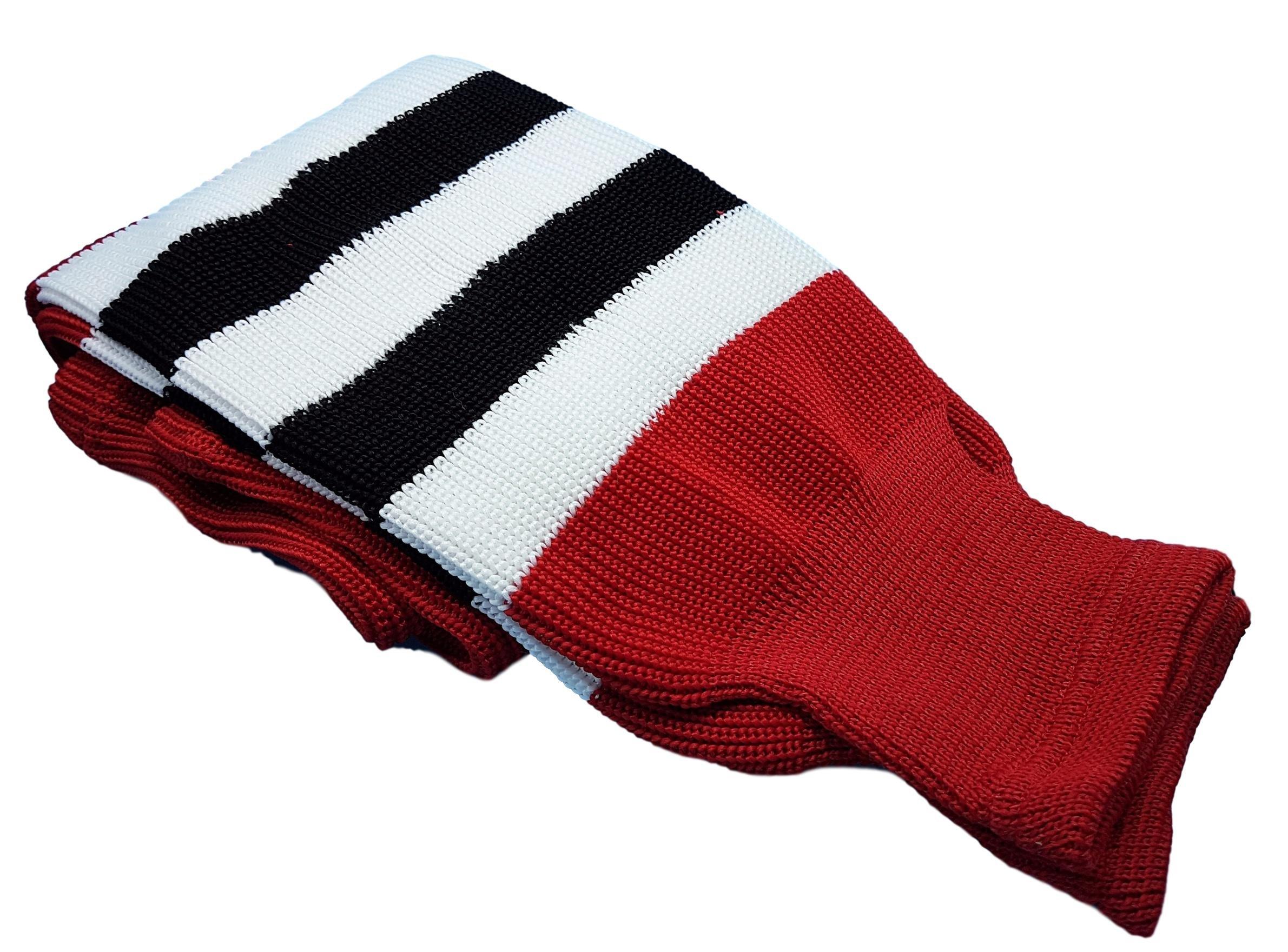 Hockey Socks Knit Made in Canada for Hockey Players (Senior 32'', 8 Red w/Black/White)