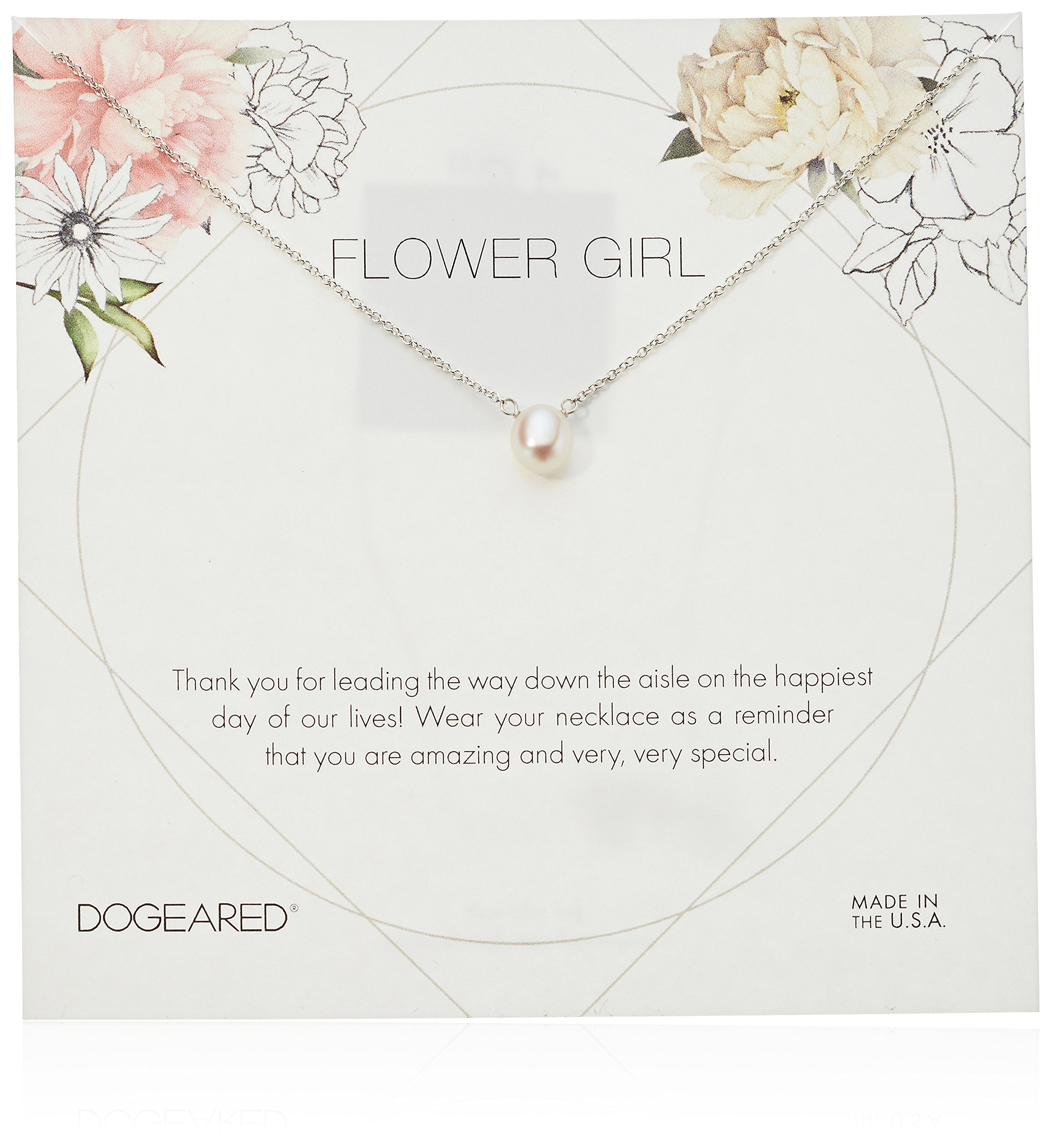 Dogeared Flower Girl Flower Card Small ButtonWhite Pearl Chain Neckalce, Sterling Silver, 16'' + 2'' Extension