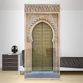 Paravent rideau oriental gate incl équerre taille 250x120 cm panneau japonais