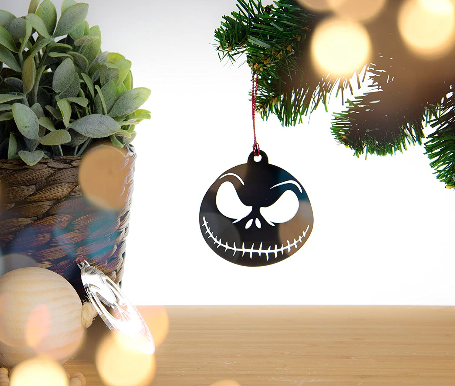 The Nightmare Before Christmas Jack Skellington Christmas Tree Decoration Acrylic Decoration For Your Christmas Tree Similar To Christmas Baubles Each One Is Individually Hand Made Choice Of Colours Black Red Silver Sparkle