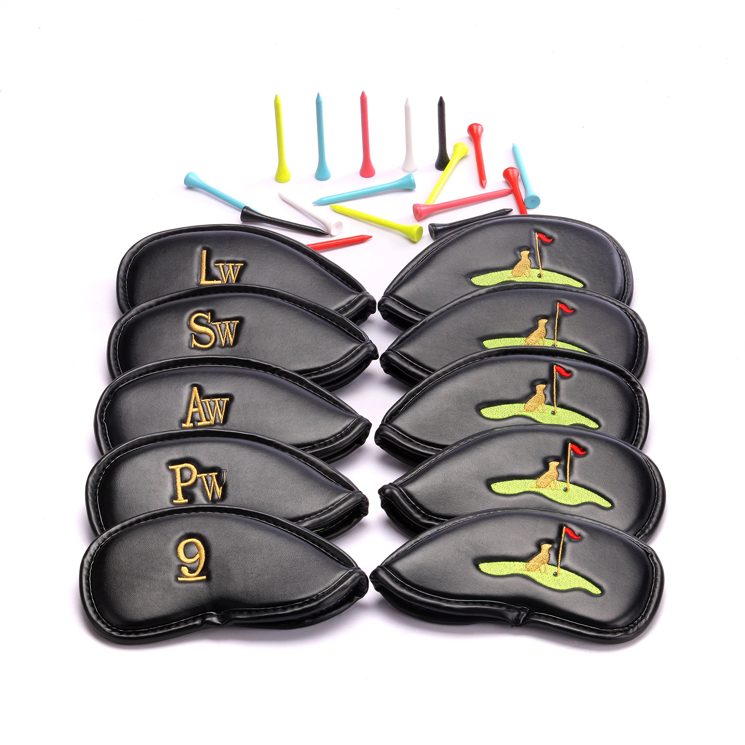 Golf Club Headcovers 30 Golf Tees Seasonal Promotion Set of 10 PU Leather  Golf Iron Club Covers Stylish 3D Embroidery Suitable for Right and Left  Handed ...