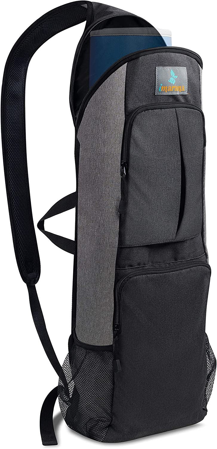 Imarana Yoga Mat Bag | Yoga Carrier Backpack with Versatile Storage Mesh and Zipper Pockets