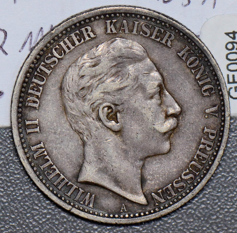 1905 DE GE0094 Germany 2 Mark A prussia silver DE PO-01