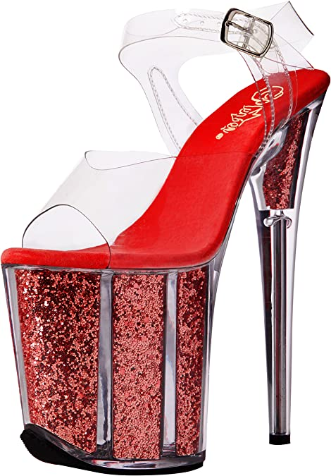 Pleaser FLAMINGO-808G Ankle Strap Sandal With Glitter Filled Bottom