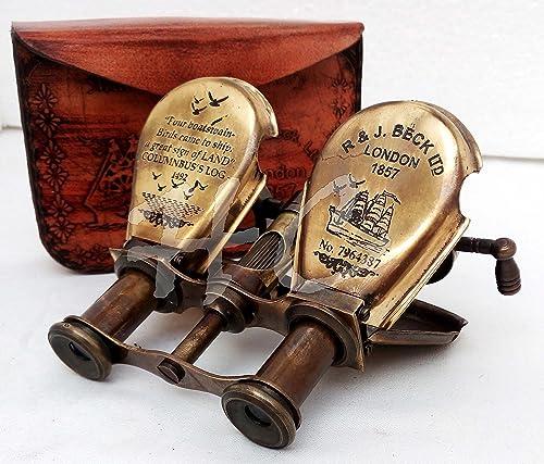 Hanzla Collection Vintage Brass Binocular Antique Folding Monoculor Nautical Telescope Spygla
