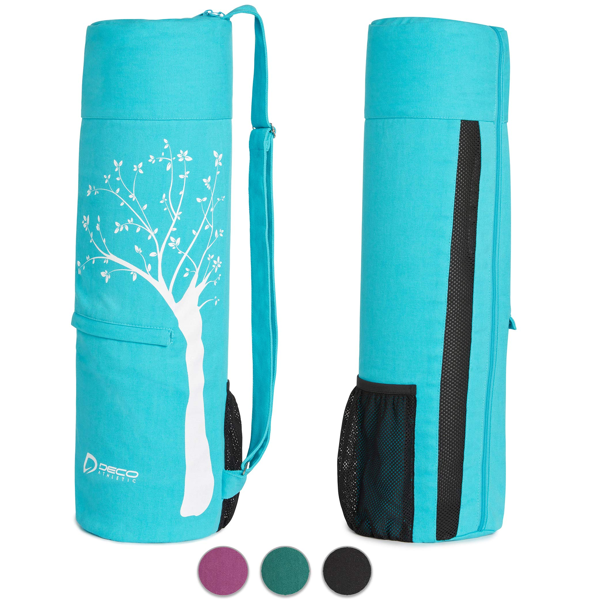 Deco Athletic Teal Yoga Mat Bag. Choose Your Color - fits up to 25in mat and Blanket, 2 Large Pockets, Room for Water Bottle & Towel. One Tree Planted for Every Bag Purchased!