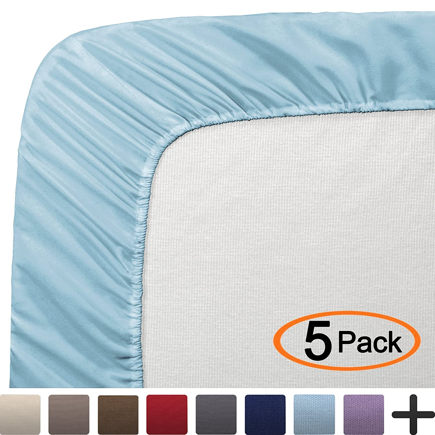 """Bare Home 5 Twin Fitted Premium Bed Sheets (5-Pack) - Ultra-Soft, Hypoallergenic, Twin, 12"""" Deep Pocket, 39"""" x 75"""" (Twin, Light Blue)"""