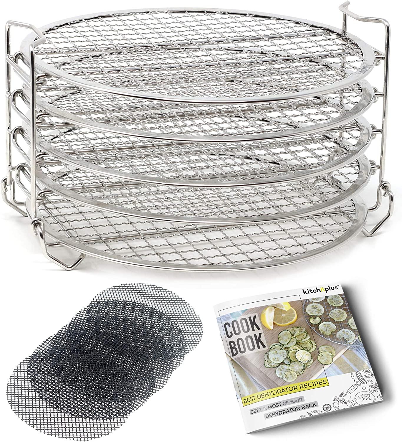 Kitchnplus Dehydrator Rack Stainless Steel Stand. Compatible with Ninja Foodi 6.5 and 8 Quart and Instant Pot 8 Qt Pressure Cooker. Includes Non-Stick Baking Sheets Accessories and Dehydrating Cookbook