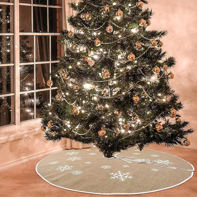 Sunshine smile Christmas Tree Skirt,Falda del árbol de Navidad,decoración de la Fiesta de Navidad,Blanco Falda del árbol de Navidad (D)