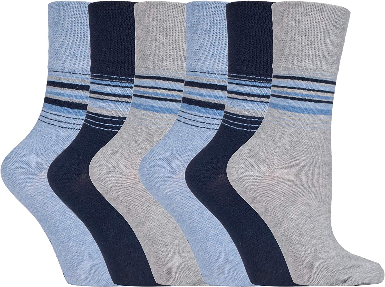 Gentle Grip Para Crculacion 6 Pares Mujer Algod/ón Colores Vestir Calcetines Sin Elastico//Sin Presion