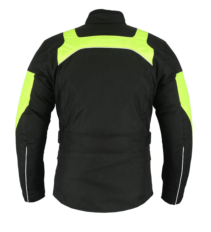 in tessuto ad alta visibilit/à Sterling Sports/® Giacca da motociclista da uomo abbigliamento protettivo impermeabile con marchio CE