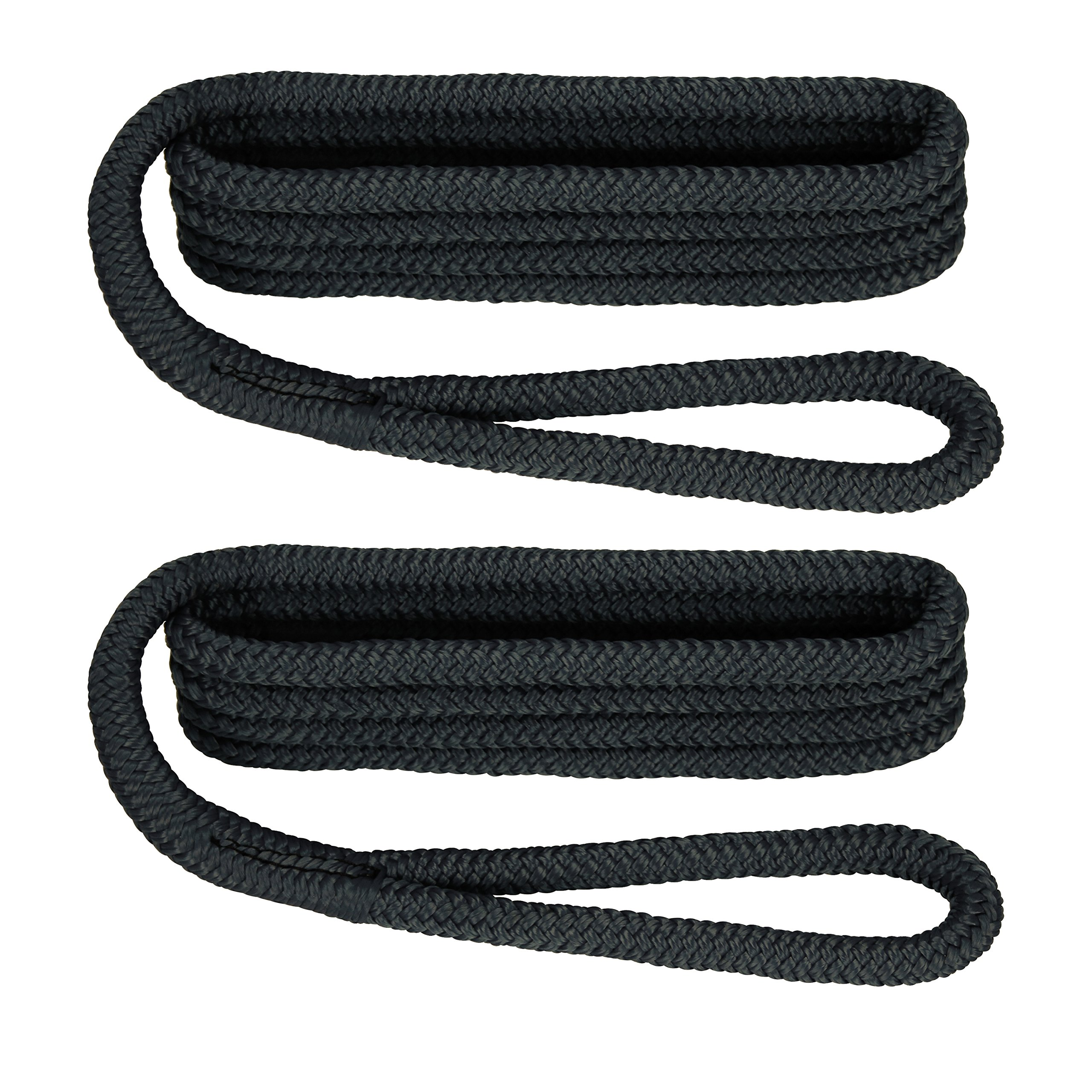 Extreme Max 3006.2168 BoatTector 3/8'' x 6' Premium Double Braid Nylon Fender Line Pair, Black by Extreme Max