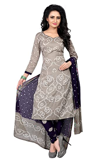 8b6d8f52a4 Wedding Villa Women s Satin Bandhani Dress Material  (GultySalwar 1 Grey Colour Unstitched)  Amazon.in  Clothing   Accessories