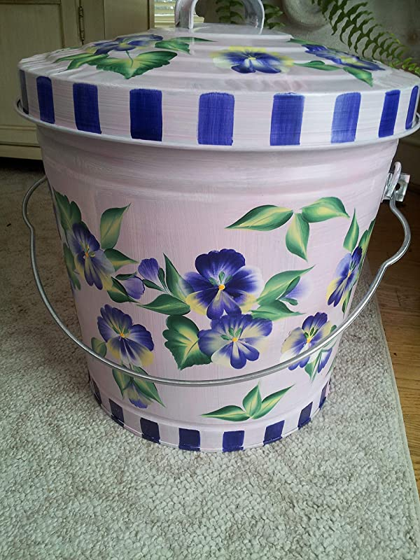 6 Gallon Hand Painted Decorative Trash Can Garbage Can