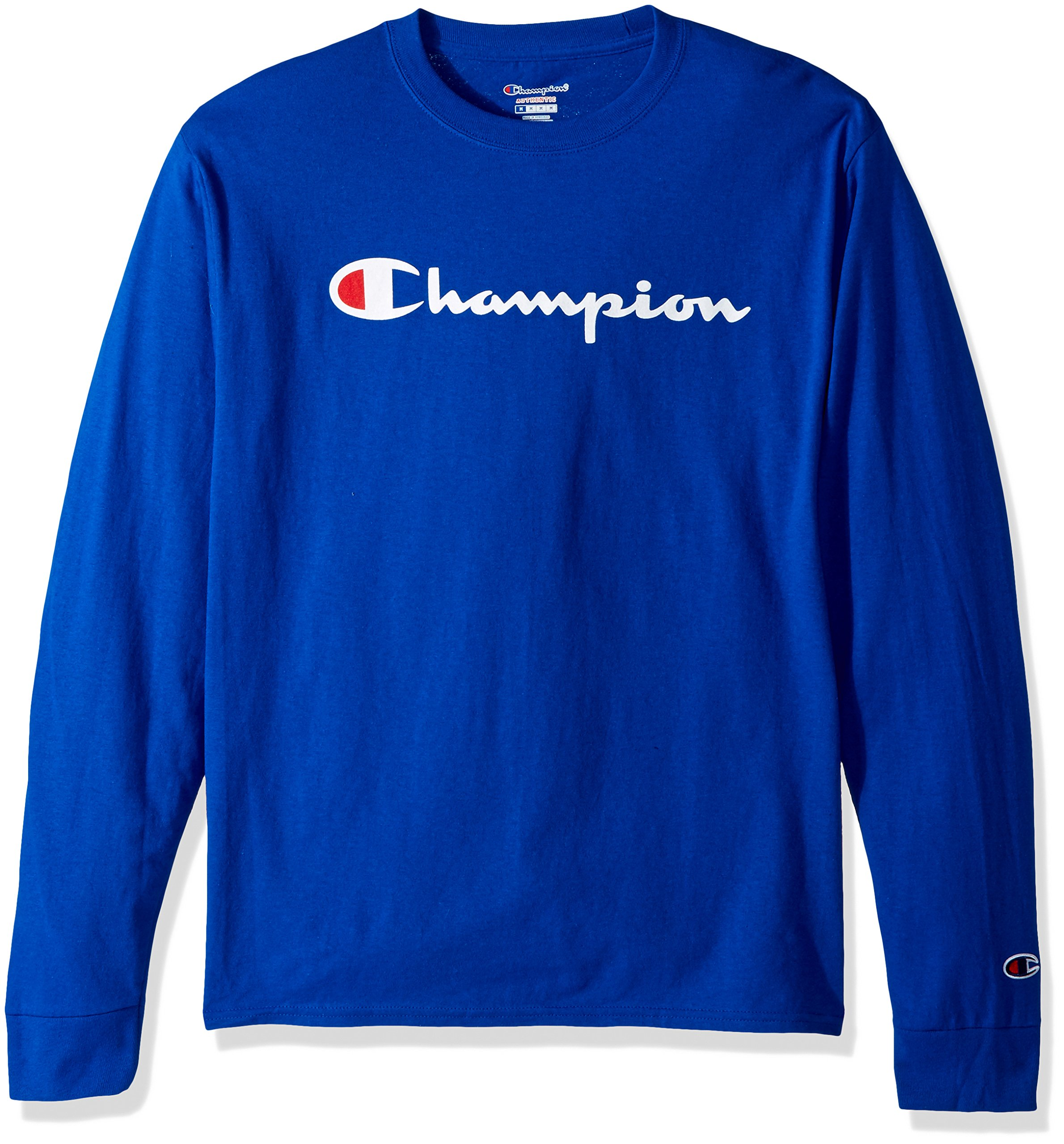 Champion LIFE Men's Cotton Long Sleeve Tee, Surf The Web/Patriotic Script, Large by Champion LIFE