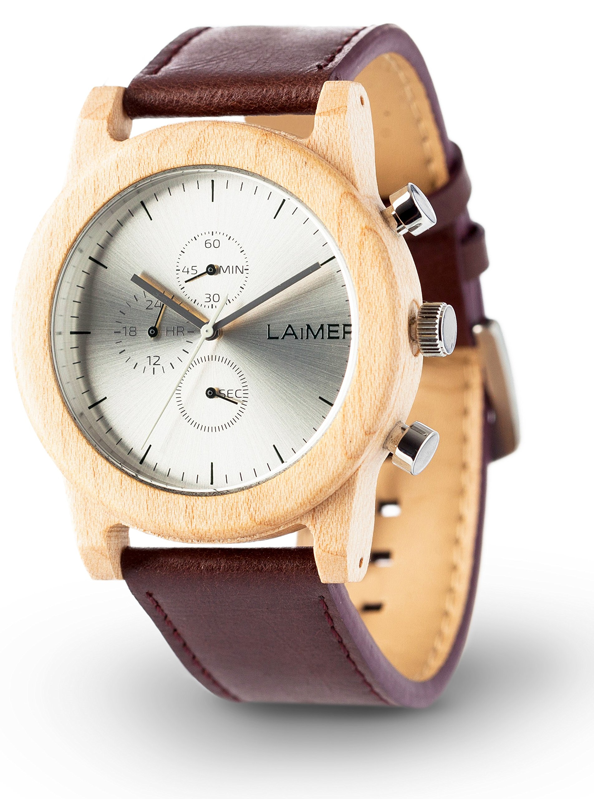 LAiMER Men's Chronograph Wooden Watch PETER – Wrist Watch made of natural Maple Wood - Leather Strap, bright Design