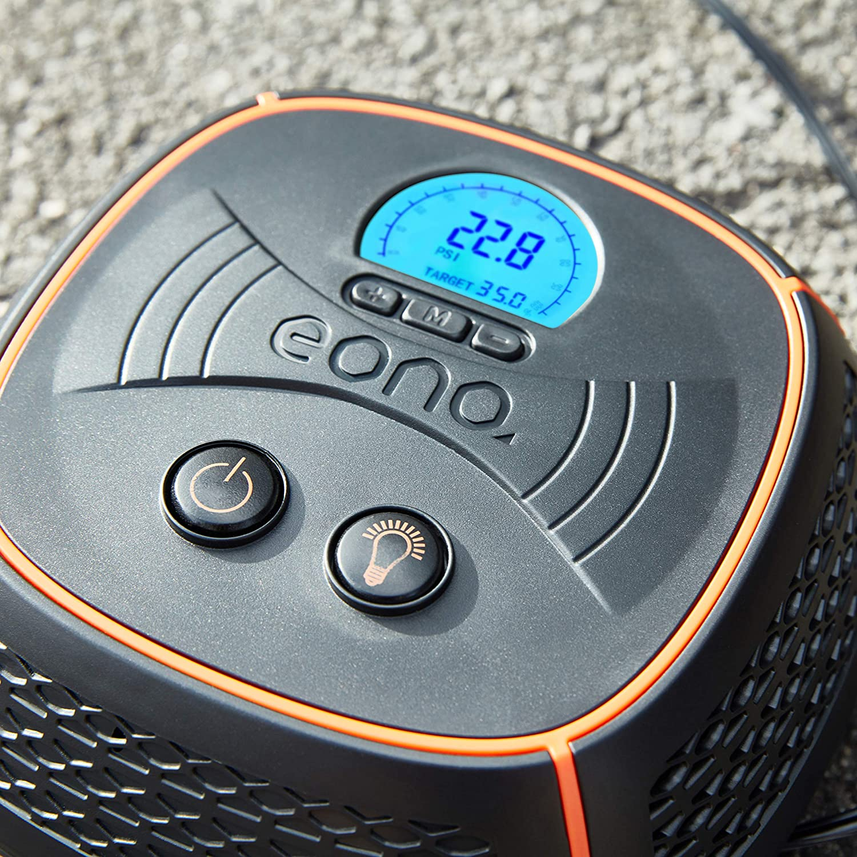 Air Compressor with Valve Adaptors EONO Essentials Analogue Tyre Inflator