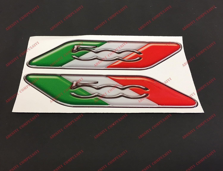 Adesivi Compulsivi Lot de 2/logos Fiat 500/avec le drapeau italien,autocollants en r/ésine effet 3D,drapeau de l/'Italie