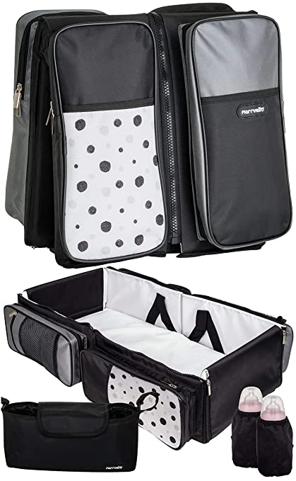 Folding Easy to Carry Infant /& Newborn Bassinet Crib Set Square Pattern Universal Baby Sleeper Bed//Travel Changing Station /& Stroller Diaper Bag Marrvello 4-in-1 Portable Baby Bassinet Bundle